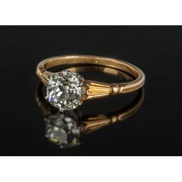 18K Gold & Diamond Vintage Solitaire Ring