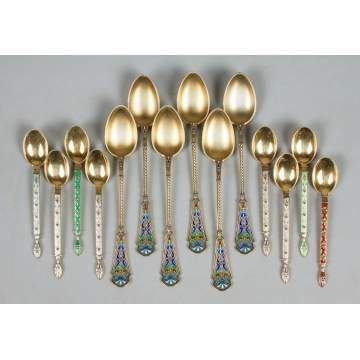 Six Sets of Sterling Silver & Enameled Demitasse Spoons
