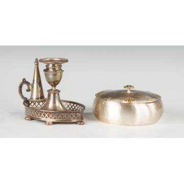 Tiffany Sterling Candle Holder &  Sterling  Covered Box