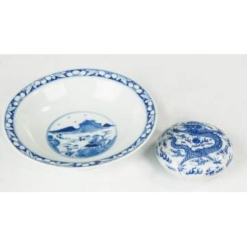 Chinese Blue & White Porcelain Footed Bowl & Covered Dish