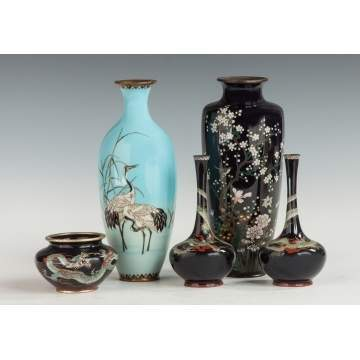 Group of Japanese Cloisonne Vases