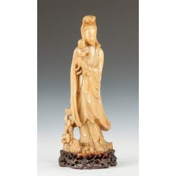 Chinese Soapstone Guanyin Figure Holding Child