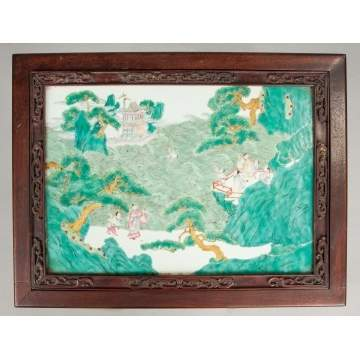 Chinese Painted Porcelain Plaque mounted as a Table