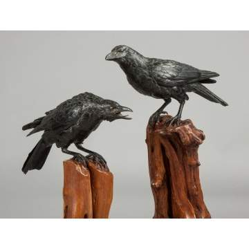 Pair of Japanese Bronze Crows
