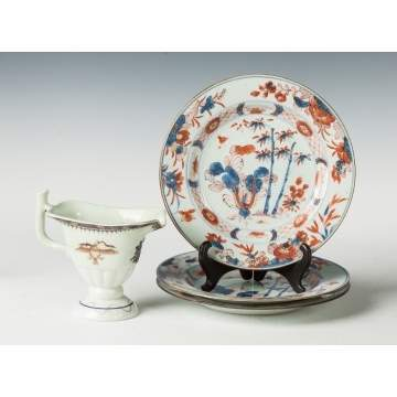 Group of Imari Plates & A Chinese Export Creamer