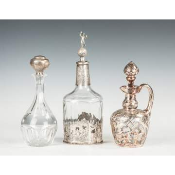 Three Decanters with Silver Stoppers and Overlay