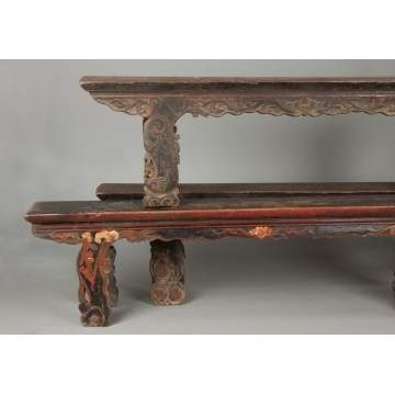 Three Chinese Carved & Painted Benches
