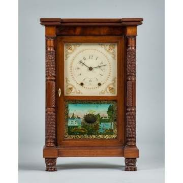 Rare Miniature Mark Leavenworth Carved Case Shelf Clock
