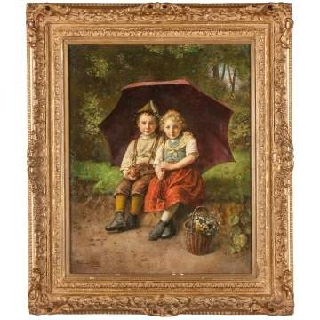 Edmund Adler (German/Austrian, 1876 - 1965) Children Under Umbrella