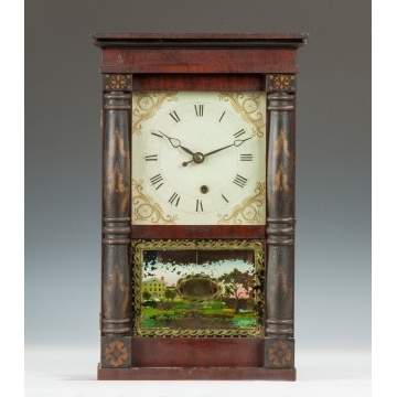 Miniature Charles Kirke for George Mitchell Stenciled Column Shelf Clock, Bristol, CT