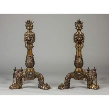 Pair of Monumental Cast Bronze Andirons
