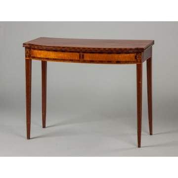 Concord, New Hampshire Mahogany & Inlaid Hepplewhite Card Table