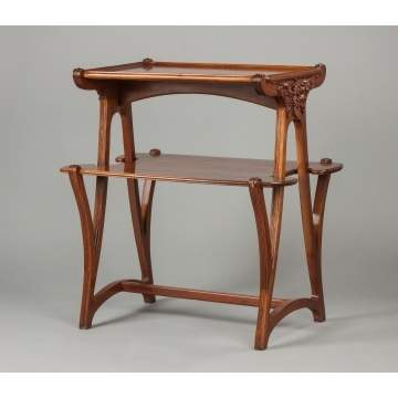 Art Nouveau, Two-Tier Carved Walnut Stand