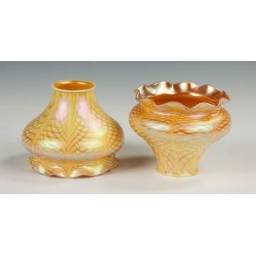 Pair of Steuben Gold Iridescent Art Glass Shades