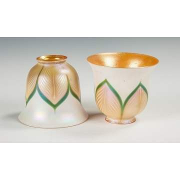 Pair of Quezal Art Glass Shades