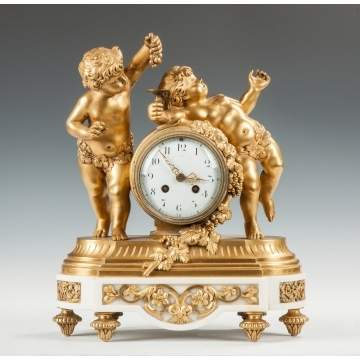 Fine Gilt Bronze & Marble Mantle Clock