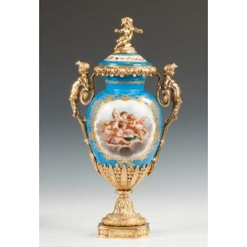 Sevres Hand Painted Porcelain & Gilt Bronze Covered Urn