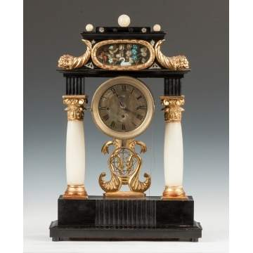Austrian Ebonized & Alabaster Clock