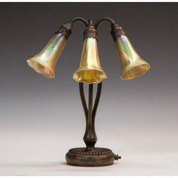 Tiffany Studios Three Light Table Lamp