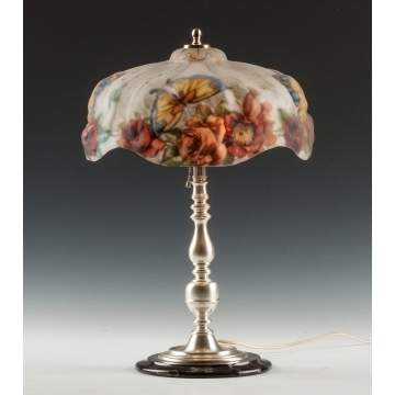 Pairpoint Puffy Lamp with Butterfly & Rose
