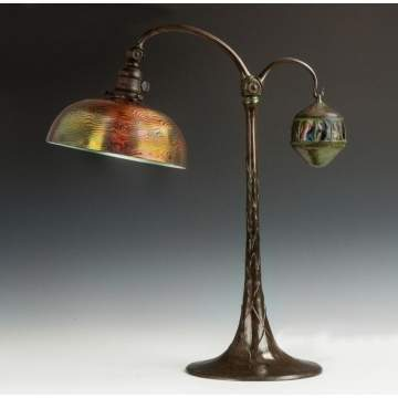 Rare Tiffany Studios Table Lamp with Turtleback Counter Balance