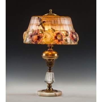 Pairpoint Puffy Lamp with Hummingbird & Rose