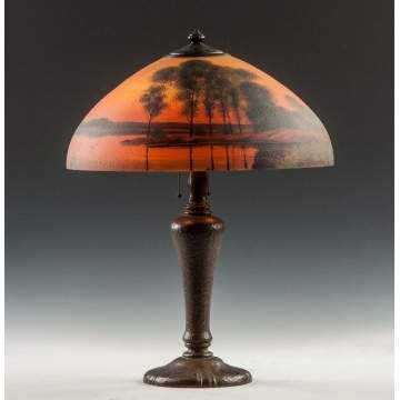 Handel Reverse Painted Lake & Sunset Lamp