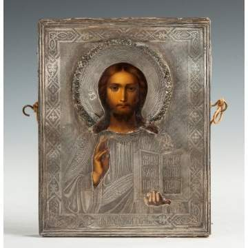 Russian Silvered Metal Icon