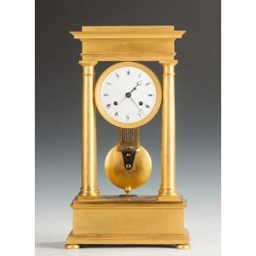 Fine French Gilt Bronze Portico Clock