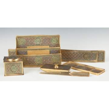 Tiffany Studios Bronze & Enameled 6-Piece Desk Set, Moorish Design