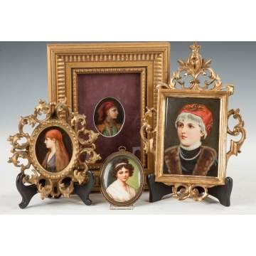 Four German Paintings on Porcelain