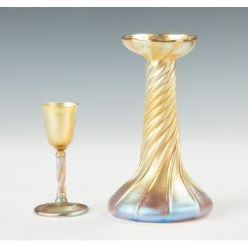 Tiffany Gold Iridescent Cordial & Candlestick Lamp Base