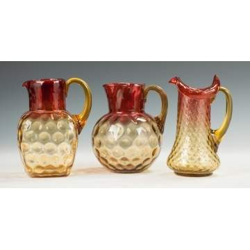 Three Amberina Water & Lemonade Pitchers