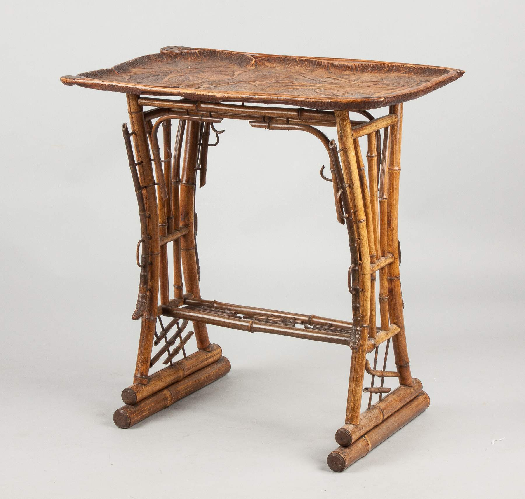 Unusual Carved Wood U0026 Bamboo Art Nouveau Side Table
