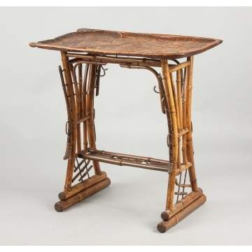 Unusual Carved Wood & Bamboo Art Nouveau Side Table