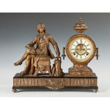 "Ansonia ""Denis Papin"" Figural Mantle Clock"
