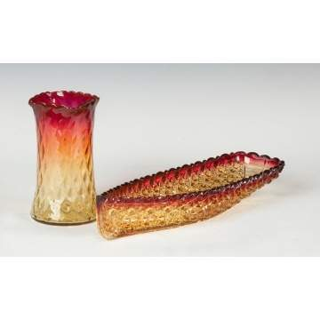 Amberina Quilted Celery Vase & Celery Dish