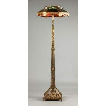 Leaded Glass & Gilded Metal Floor Lamp