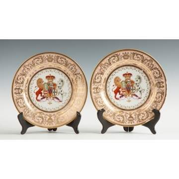 Two Worcester (Flight, Barr & Barr) Armorial Salmon-Ground Plates from the 'Stowe' Service