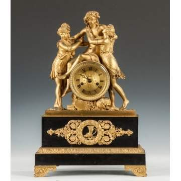Fine French Gilt Bronze & Bronze Mantle Clock