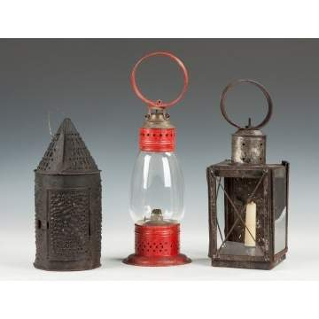 Two Candle Lanterns and One Oil Lantern