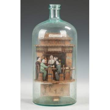 Carl Worner NY State Carved & Painted Folk Art Saloon in a Bottle