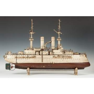 Rare Marklin Hand Painted Tin Clockwork New York Battleship