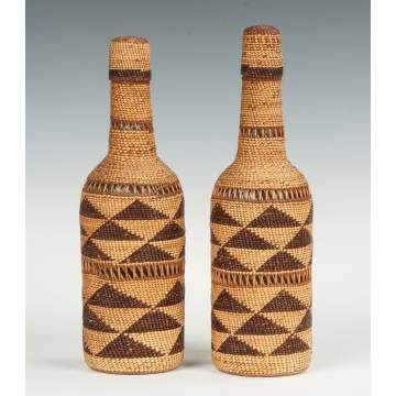 Two Native American Basket Weave Bottles