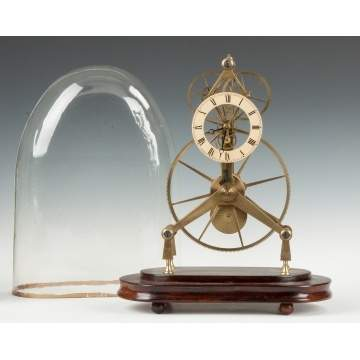 English Large Wheel Brass Skeleton Clock