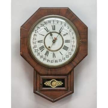 New Haven Clock Co. Octagon Schoolhouse Clock