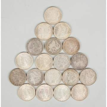 Group of Nineteen Silver Dollar Coins