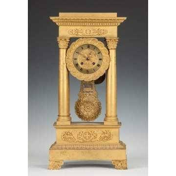 French Gilt Bronze Portico Clock