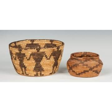 Two Native American Baskets with Figures