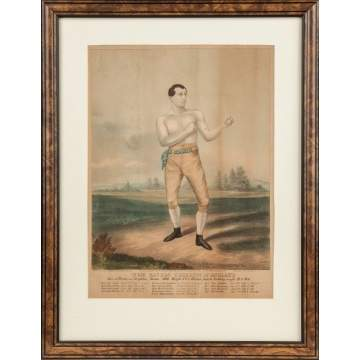 Tom Sayers, Boxer, Champion of England Hand Colored Print